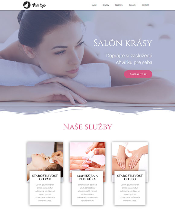 dizajn web stránka salón krásy