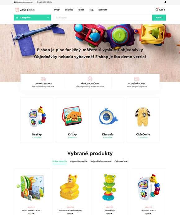 E-shop s produktami pre deti