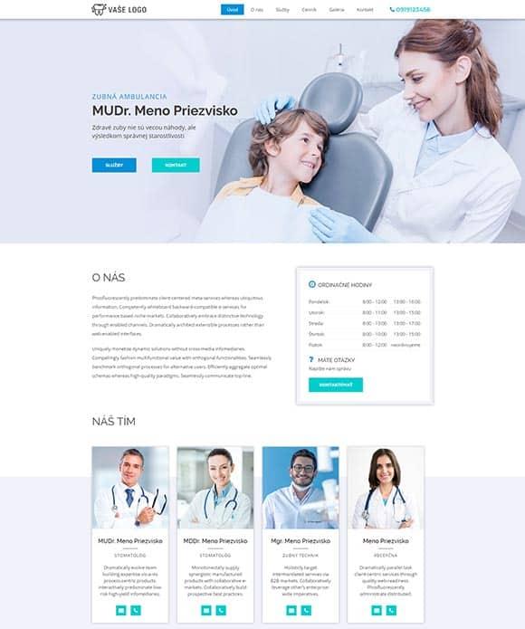 dizajn web stránka zubná ambulancia